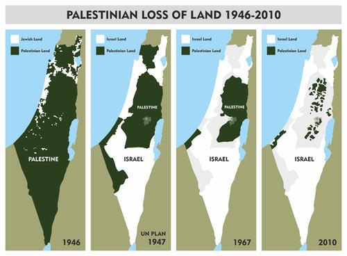 Mapa Palestina-Israel 1946-2010
