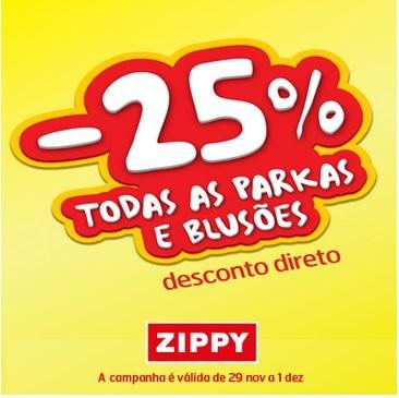 25% de desconto | ZIPPY | de 29 novembro a 1 dezembro  Parkas e Blusões
