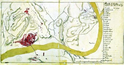 Planta de Coimbra e seus contornos sobre o Rio Mon