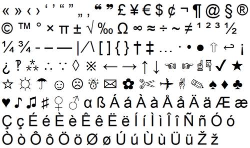símbolos atalhos teclado