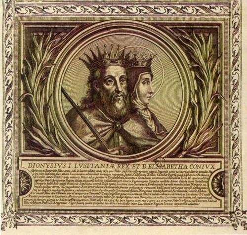 D. Dinis e D. Isabel. Gravura da série Lusitanoru