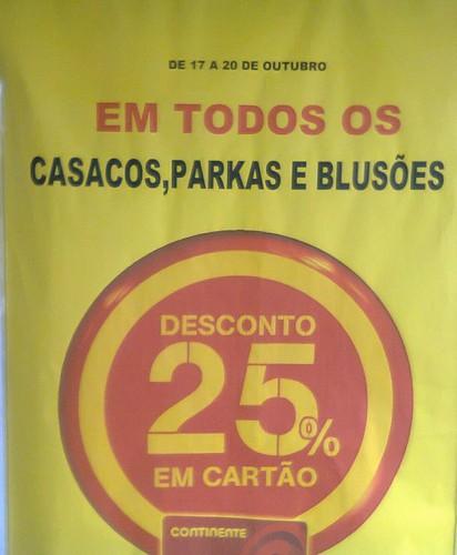 25% de Desconto | CONTINENTE | Casacos , Parkas e Blusões