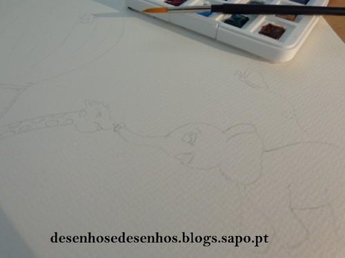 desenho a aguarela