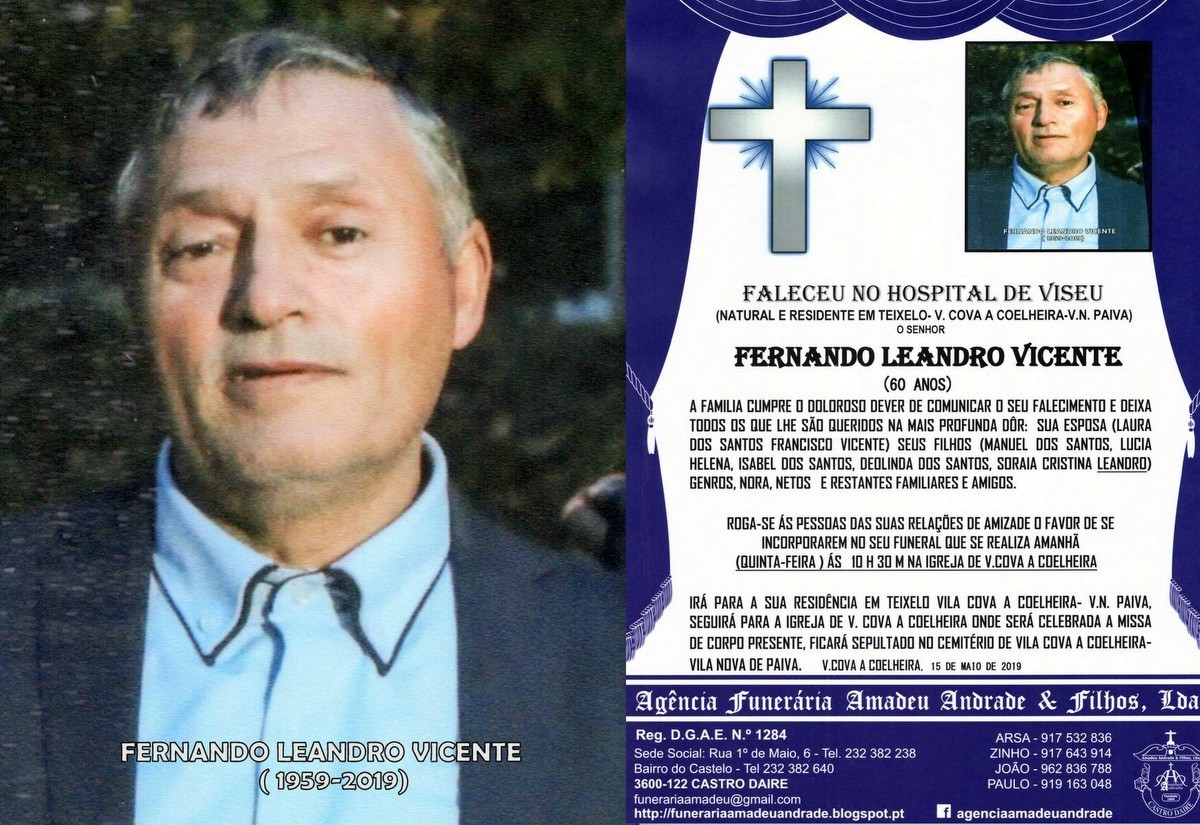 FOTO RIP-FERNANDO LEANDRO VICENTE- 60 ANOS (V.COVA