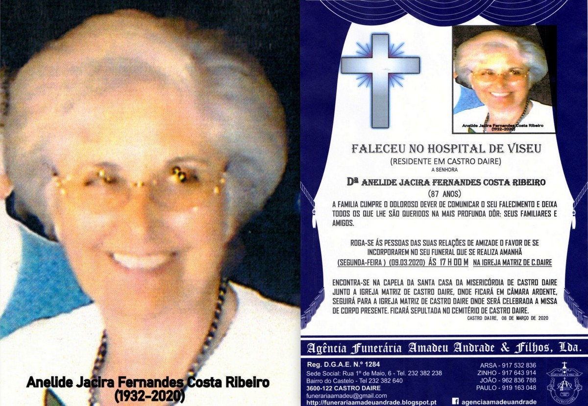 FOTO RIP  DE ANELIDE JACIRA FERNANDES COSTA RIBEIR