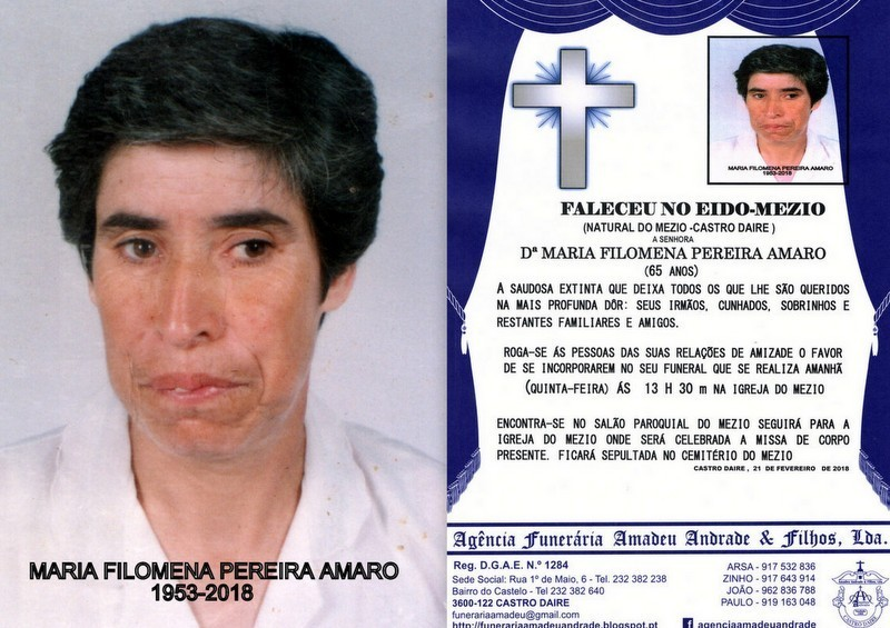 RIP-FOTO DE MARIA FILOMENA PEREIRA AMARO-65 ANOS (