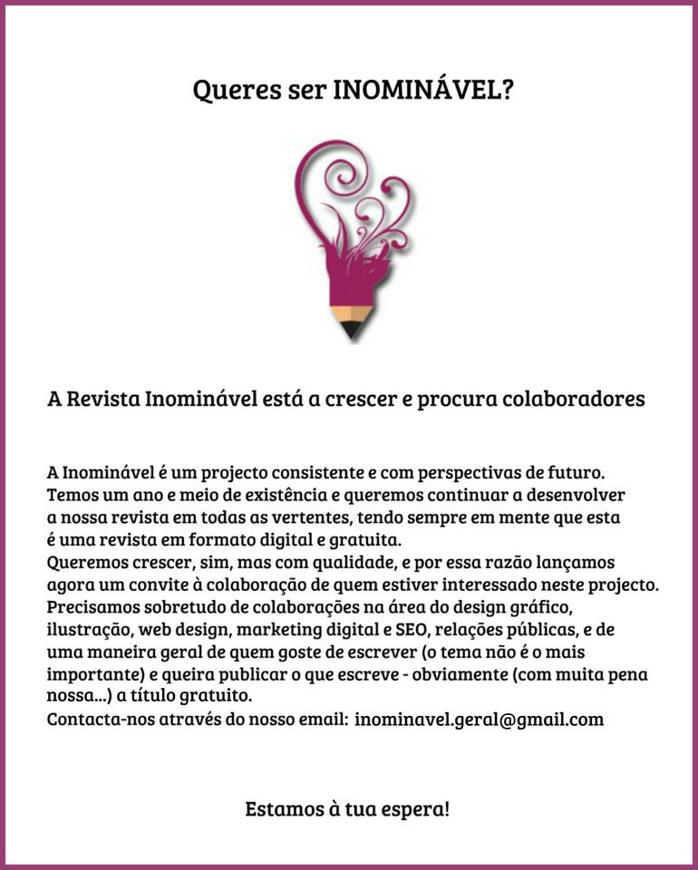 INOMINÁVEL - Para lá da Blogosfera! | colaboradores procuram-se