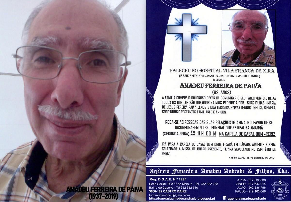 FOTO RIP  DE AMADEU FERREIRA DE PAIVA-82 ANOS (CAS