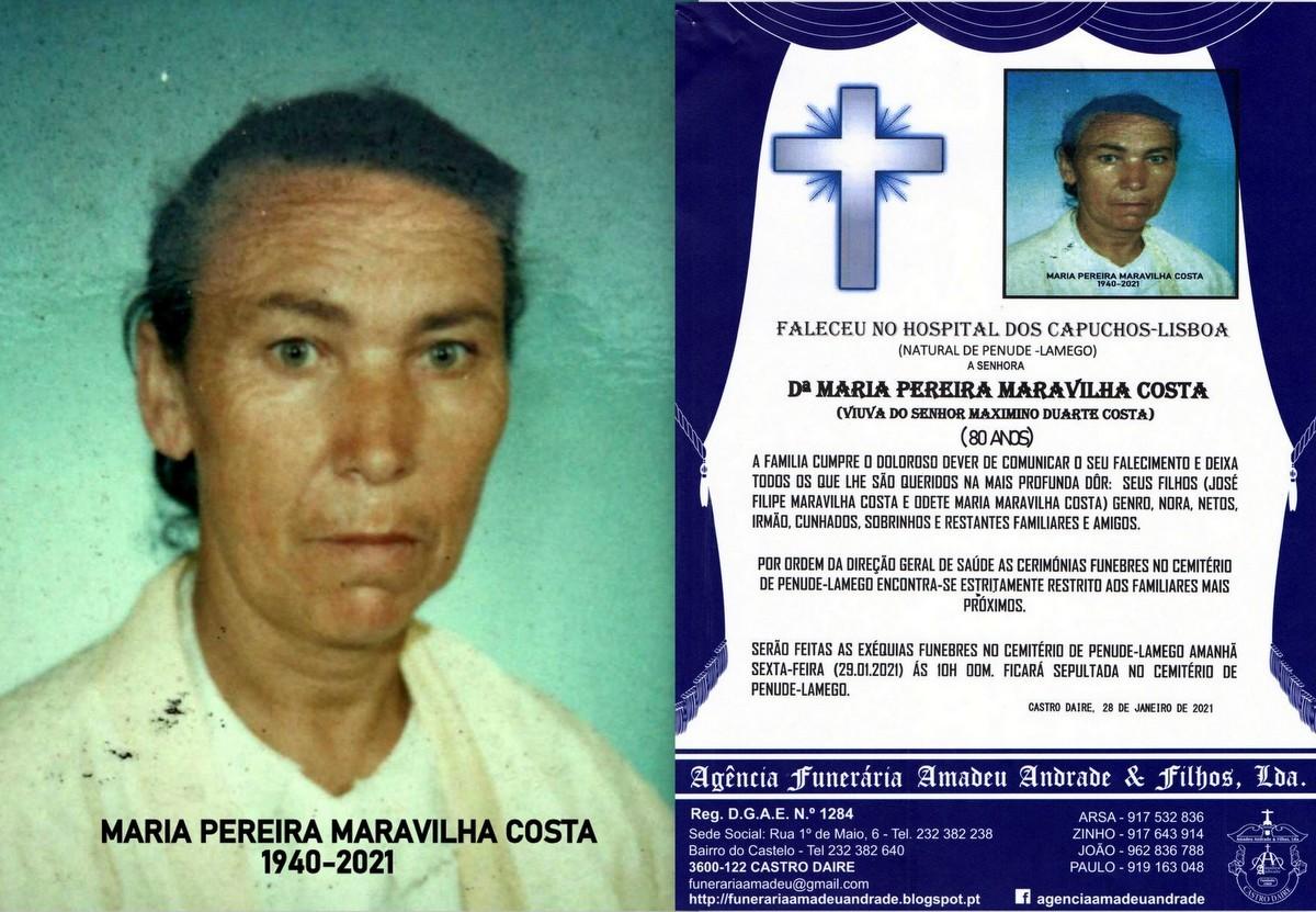 FOTO RIP DE MARIA PEREIRA MARAVILHA COSTA -80 ANOS