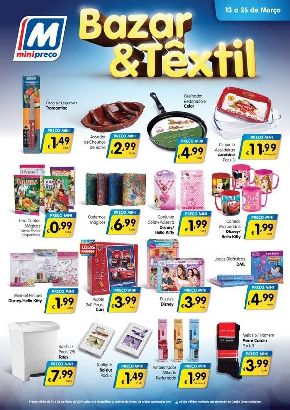 Folheto | MINI PREÇO | Bazar e Têxtil até 26 março