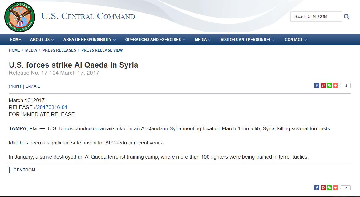 U.S. forces strike Al Qaeda in Syria, news release, US Central Comand