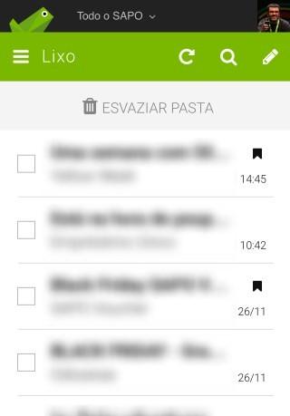 SAPO Mail - botão Esvaziar Pasta