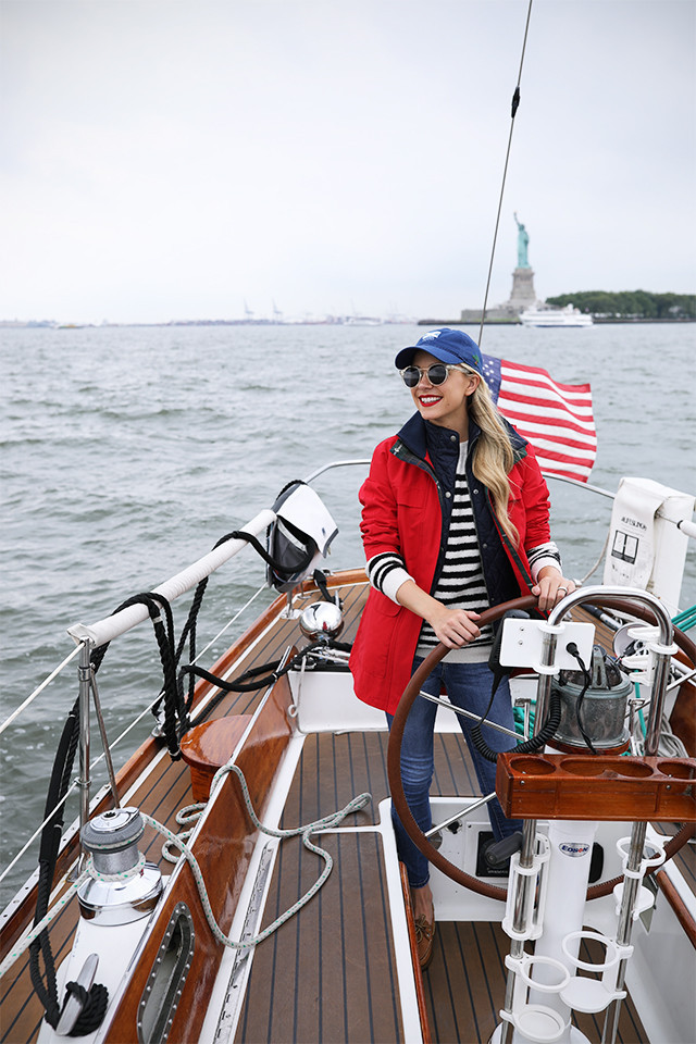 blogger-sailing-nyc-outfit-red-coat-barbour-vest-.