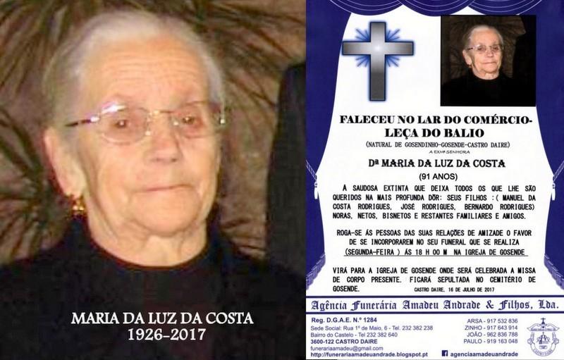 FOTO RIP-MARIA DA LUZ DA COSTA -91  ANOS (GOSENDE-