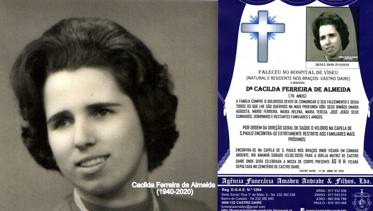 FOTO RIP-CACILDA FERREIRA DE ALMEIDA -79 ANOS (BRA