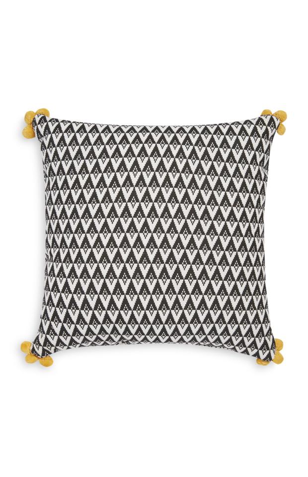 Kimball-0404201-Pom Pom Ornament Cushion White Bla