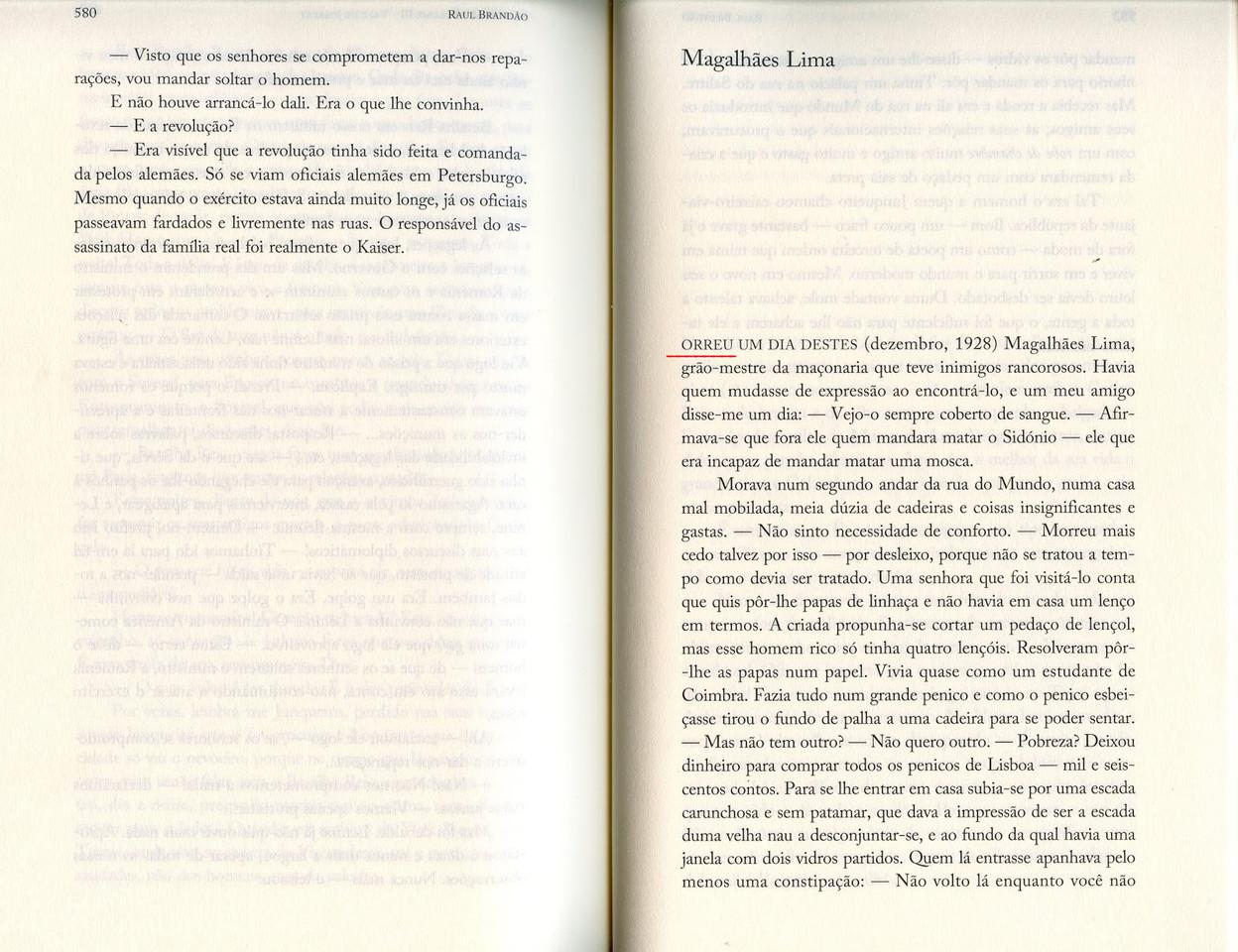 Raul Brandão, «Memórias», Quetzal, 2017, pp. 580-581.