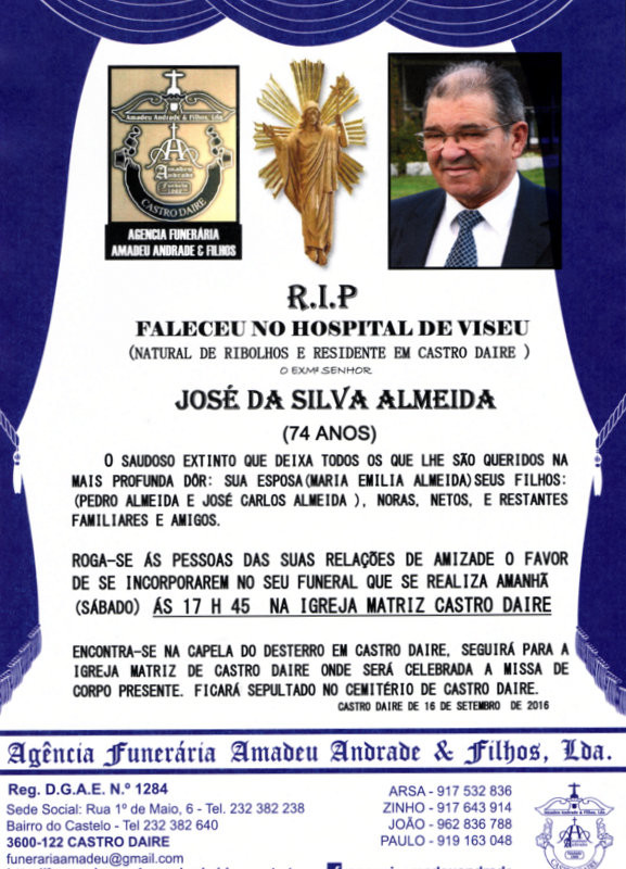 RIP-JOSÉ DA SILVA ALMEIDA-74 ANOS (CASTRO DAIRE).