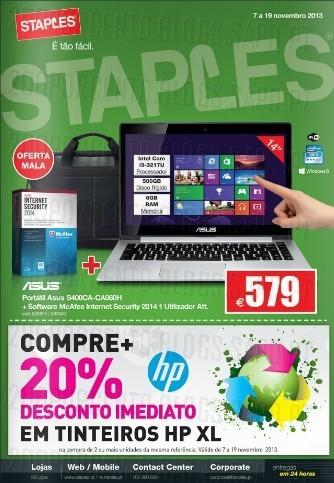Novo Folheto | STAPLES | Tecnologia de 7 a 19 novembro