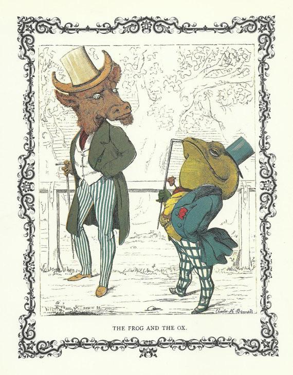 Charles H. Bennett, A rã e o touro (das Fábulas de Esopo)