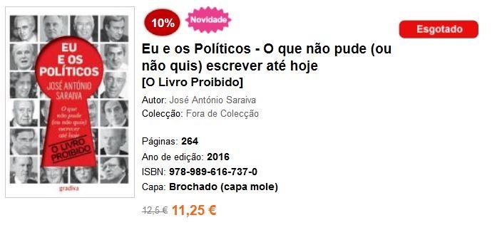J.A. Saraiva, «Eu e os Políticos» (Gradiva, 2016)