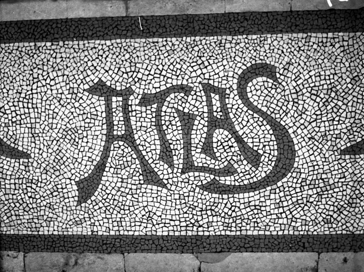 Calçada portuguesa na Casa Atlas, 1940, foto de A