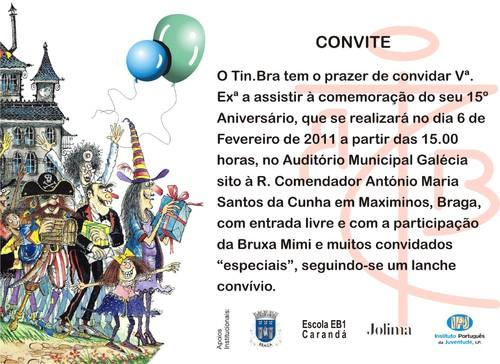 Convite para o 15º Aniversário do Tin.Bra