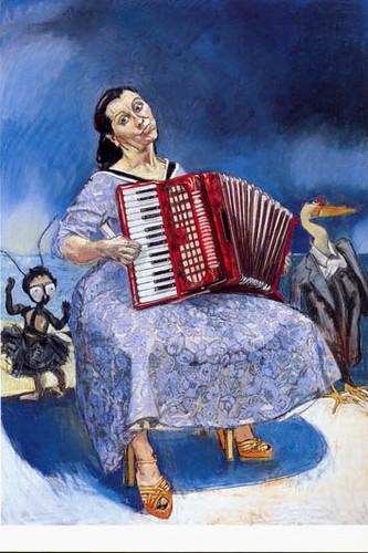 Um quadro de Paula Rego... figurativo e com cores dadas à imaginação.