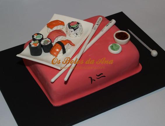 Bolo Temático 3D Prato de Sushi