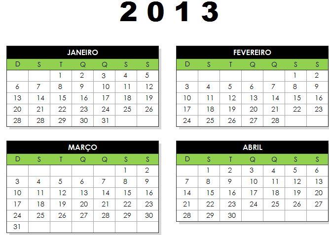calendáeio 2013