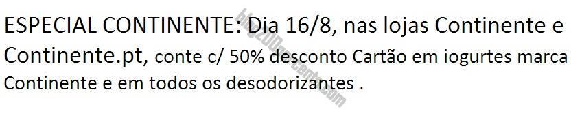 SMS Recebido CONTINENTE 50% em iogurtes CNT e Desodorizantes