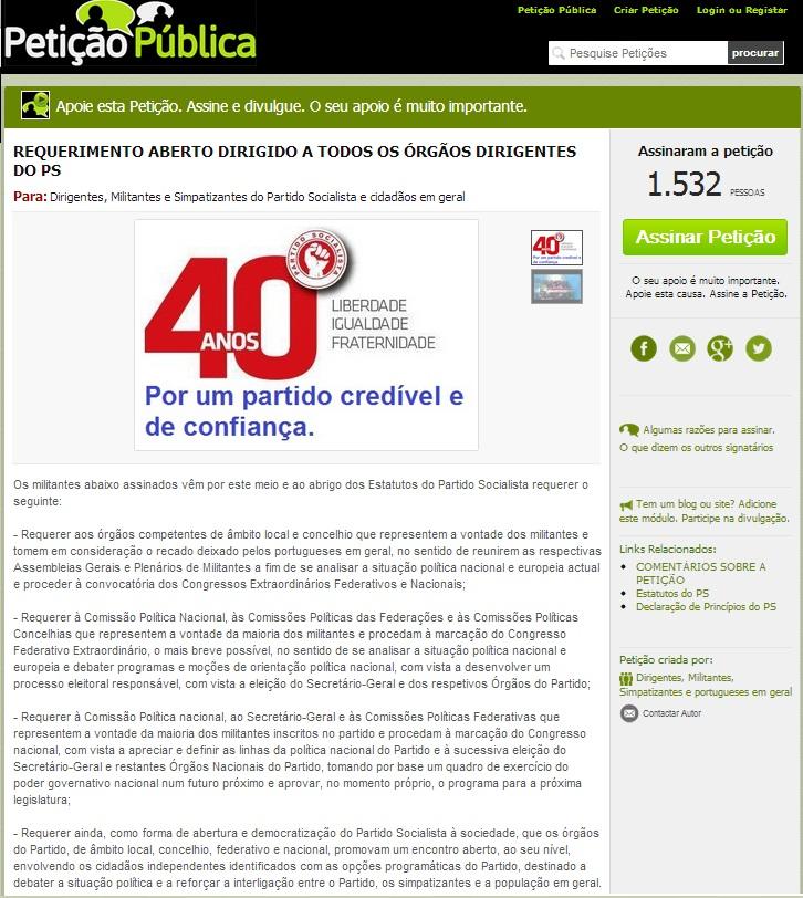 petição pública partido socialista congresso e eleições diretas josé seguro e antónio consta