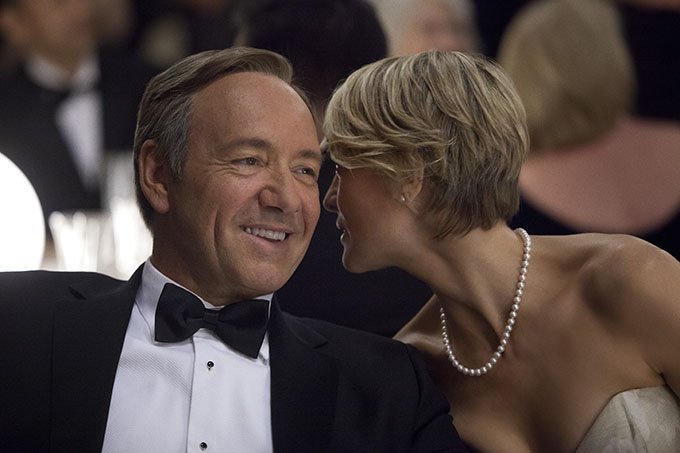 Television Programme: House of Cards with Kevin Spacey as Frank Underwood and Robin Wright as Claire Underwood. Kevin Spacey as Frank Underwood, left, and Robin Wright as Claire Underwood in a scene from the Netflix original series,